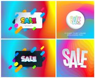 Sale banner template design on colourful background. Special offer for shopping, retail. Typography, lettering for royalty free illustration