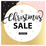 Sale banner template design. Elegant design Pink, gold and Black. Vector design Stock Images