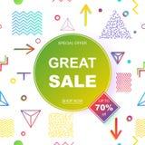 Sale banner template design. Vector illustration. Stock Photos