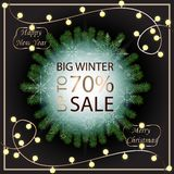 Sale banner template design. Sale poster of Christmas. Big winter sale discount. Graphic poster, geometric brochure, Christmas ca vector illustration