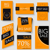 Sale Banner Template Design. Set of Seven Orange Posters Royalty Free Stock Photography