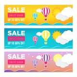 Sale banner template design set. Web banner, flyer, voucher with hot air balloon, sea, moon, sun, clouds for your site. Modern gradient style. Home page stock illustration