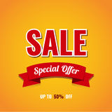 Sale banner template design. Up to 50% off. Vector illustration Royalty Free Stock Photography