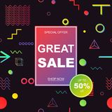 Sale banner template design. Vector illustration. Stock Photography