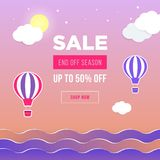 Sale banner template design. Web banner with hot air balloon, sea, moon, clouds for your site. Modern gradient style. Home page concept with text space royalty free illustration