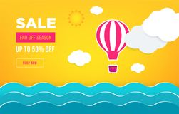 Sale banner template design. Web banner with hot air balloon, sea, sun, clouds for your site. Modern gradient style. Home page concept with text space royalty free illustration