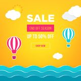 Sale banner template design. Web banner with hot air balloon, sea, sun, clouds for your site. Modern gradient style. Home page concept with text space vector illustration