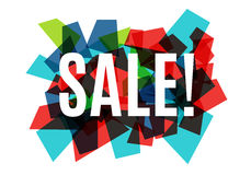 Sale banner template design, white text on colorful abstract background consisting of glass polygons. Vector. Illustration Royalty Free Stock Images