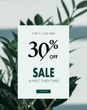 Sale banner template. With discount 30 percent and floral background royalty free illustration