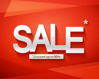Sale banner template. Discount up to 50. Inscription sale on a red abstract background Stock Image
