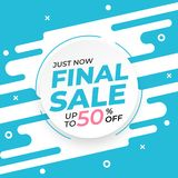 Sale banner template with final sale up to 50 percent off preset text on circle shape and liquid white blue background royalty free illustration