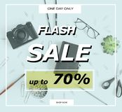 Sale banner template. Flash sale banner template with discount 70 percent and office supplies royalty free stock images