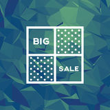 Sale banner template with low poly vector background. Special offers and discounts promotion. Royalty Free Stock Image