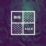 Sale banner template with low poly vector background. Special offers and discounts promotion. Stock Photo
