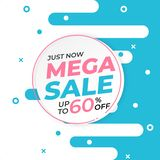 Sale banner template with mega sale up to 60 percent off preset text on circle shape and liquid white blue background. Banner royalty free illustration