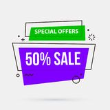 50% sale banner template in memphis geometric style. On white background Royalty Free Stock Images