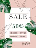 Sale banner template. Summer sale banner template with discount 50 percent and green leaves royalty free illustration