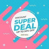 Sale banner template with super deal up to 50 percent off preset text on circle shape and liquid pink blue background stock illustration