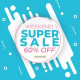 Sale banner template with super discount 60 percent off preset text on circle shape and liquid white blue background. Banner vector illustration