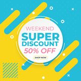 Sale banner template with super discount up to 50 percent off preset text on circle frame and liquid yellow blue background vector illustration