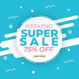 Sale banner template with super sale up to 75 percent off preset text on circle shape and liquid white blue background. Banner. Design for promotional, social vector illustration