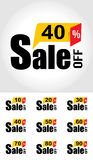 Sale Banner. Sale 10 to 90 Percent Off Banner. Vector illustration Royalty Free Stock Images