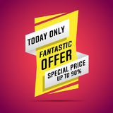 Sale banner, today only. Vector illustration Royalty Free Stock Photography