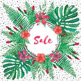 Sale banner of tropical leaves and flowers on white background royalty free illustration