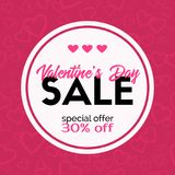 Sale banner. Valentine`s Day discount card Royalty Free Stock Image
