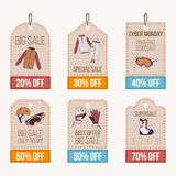 Sale banner with vector illustration set of snowboard equipment icon Royalty Free Stock Image