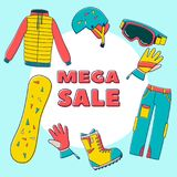 Sale banner with vector illustration set of snowboard equipment icon Stock Image