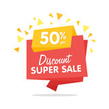 Sale banner vector isolated origami sticker Royalty Free Stock Image