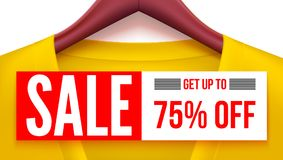 Sale banner. Yellow clothing with tag hanging on hangers. Get up to 75 percent off Advertising with fantastic offer for. Sale banner. Yellow clothing with tag Royalty Free Stock Images