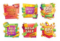 Cartoon sale banners, badges, stickers, tags. Sale banners, badges, stickers, tags for big holiday sale, black Friday, special offer, cartoon set. Super, hottest Stock Illustration