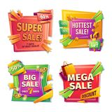 Cartoon sale banners, badges, stickers, tags. Sale banners, badges, stickers, tags for big holiday sale, black Friday, special offer, cartoon set. Super, hottest royalty free illustration