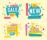 Sale banners. Bright and retro style. Cartoon vector illustration. Stock Photo
