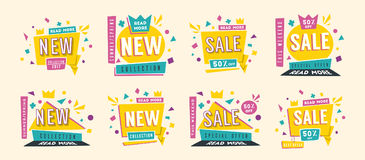Sale banners. Bright and retro style. Cartoon vector illustration. Sale and new collection banners. Bright and retro style. Cartoon vector illustration. Poster Stock Images
