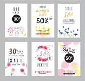 Sale banners collection for social media banners, web design, shopping on-line,posters. Email and newsletter designs, ads, promotional, letter, watercolor Royalty Free Stock Image