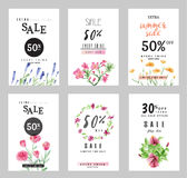 Sale banners collection for social media banners, web design, shopping on-line,posters. Email and newsletter designs, ads, promotional, letter, watercolor Stock Photography