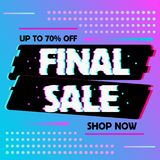Sale banner glitch effect template design stock illustration