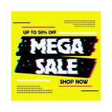 Sale banner glitch effect template design vector illustration