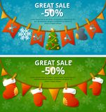 Sale banners with garlands. Set. Vector Stock Photo