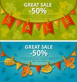 Sale banners with garlands. Vector illustration. Stock Image