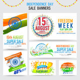 Sale Banners for Indian Independence Day. 15 August, Independence Day Sale Banner Set, Freedom Sale Paper Ribbon, Abstract Sale Typographic Background, Creative Stock Photos
