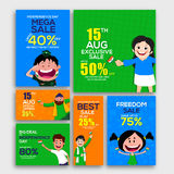 Sale Banners for Indian Independence Day. 15 August, Independence Day Sale Banner Set, Mega Sale with 40% Off, Exclusive Sale, Best Sale, Freedom Sale, Sale Royalty Free Stock Photo