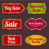 Sale banners, labels (coupon, tag) template. Vector set: Colorful Sale banners, labels (coupon, tag) template (layout) with gold frame (border). Bright design Stock Photo