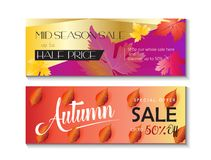 Autumn Sale banners. Mid season sale web banners set. Autumn Sale discount gift cards. Fall maple leaves abstract background. Save up to half price leaflet. Shop Royalty Free Stock Photos