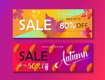 Sale banners. Mid season sale web banners set. Autumn Sale discount gift cards. Fall maple leaves abstract background. Save up to half price leaflet. Shop whole Stock Images