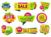 Sale banners. Price stickers collection, ribbons square and round shape badges and labels, discount coupons. Vector royalty free illustration