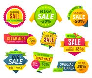 Sale banners. Price tag promotion stickers labels and coupons, sale ribbon shape offer badge. Vector discount banner royalty free illustration